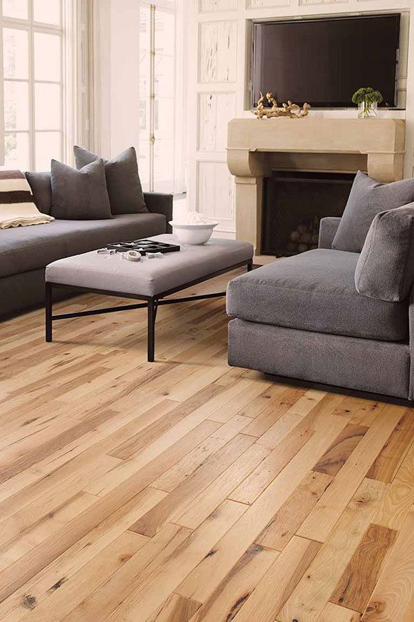 Living Room with a Trendy Blonde Hardwood Stain