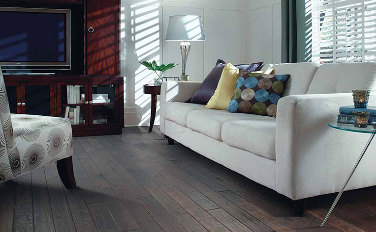 Living Room with a Classic Dark Brown Hardwood Stain
