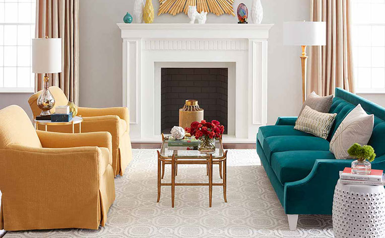 living room with bold colors