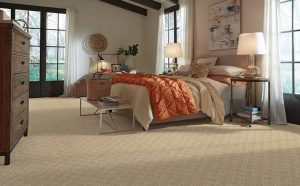 Bedroom with a living Coral comforter