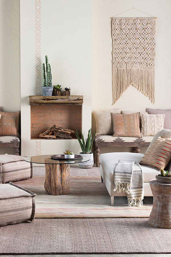 Living room with cactus and southwest decor