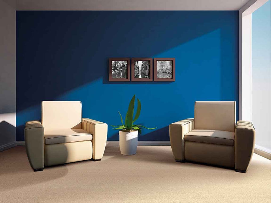 Living room with blue painted wall green house plant and two tan leather chairs on tan carpet.